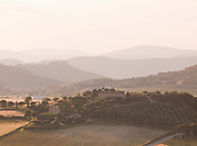 The rolling hills of the Umbrian countryside, seen from the village of Solomeo, Italy