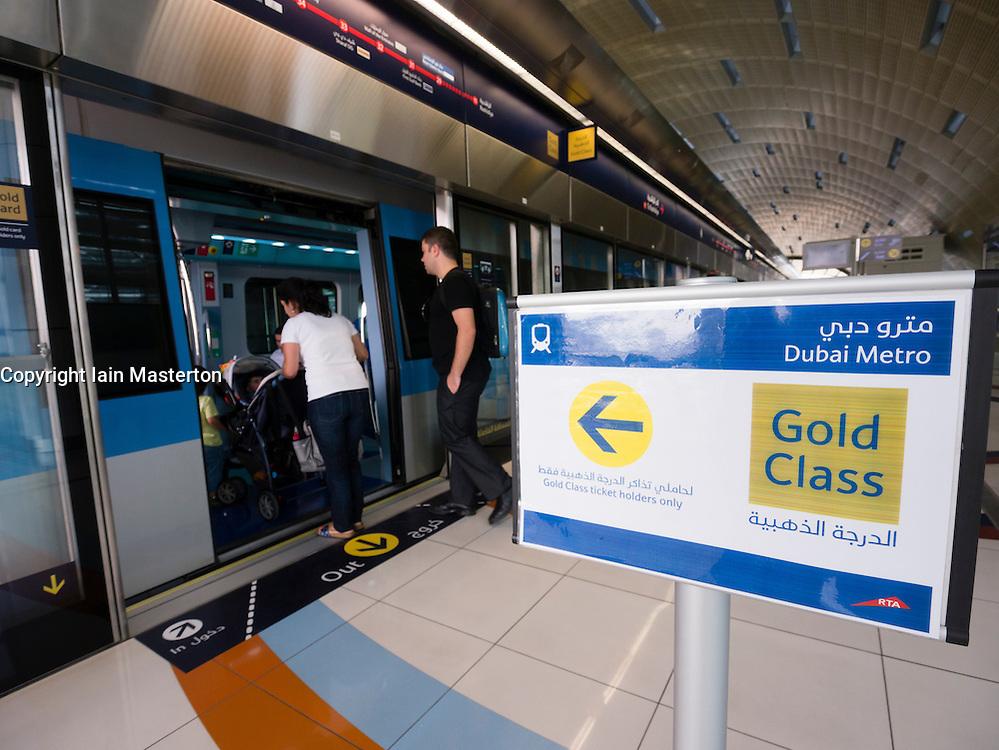 Gold Class sign at station on Dubai Metro system United Arab Emirates