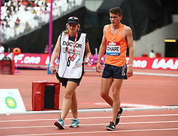 July 22, 2018 - London, United Kingdom - Chris O'Hare of Great Britain and Northern Ireland being look after by Track Doctor during the 1500m Men.during the Muller Anniversary Games Day One at The London Stadium on July 22, 2018 in London, England. (Credit Image: © Action Foto Sport/NurPhoto via ZUMA Press)