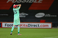 Football - 2019 / 2020 EFL Cup - Round 2 -AFC Bournemouth vs. Crystal Palace <br /> <br /> Wayne Hennessey of Crystal Palace holds his head in his hands after failing to score in the penalty shoot out at the Vitality Stadium (Dean Court) Bournemouth <br /> <br /> COLORSPORT/SHAUN BOGGUST