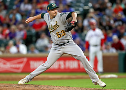 April 23, 2018 - Arlington, TX, U.S. - ARLINGTON, TX - APRIL 23: Oakland Athletics starting pitcher Trevor Cahill delivers a pitch during the game between the Texas Rangers and the Oakland Athletics on April 23, 2018 at Globe Life Park in Arlington, Texas. (Photo by Steve Nurenberg/Icon Sportswire) (Credit Image: © Steve Nurenberg/Icon SMI via ZUMA Press)