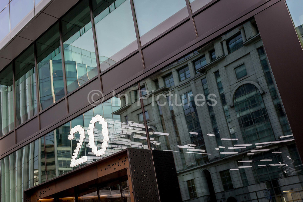 The number 20 appears above the front entrance of 20 Farringdon Road, on 20th November 2019, at Smithfield in the City of London, England.