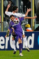 """CRISTIANO ZANETTI FIORENTINA, MIRALEM PJANIC LYON<br /> Fiorentina Lyon - Fiorentina Lione<br /> Firenze 24/11/2009 Stadio """"Artemio Franchi""""<br /> Champions League 2009/2010<br /> Foto Andrea Staccioli Insidefoto"""