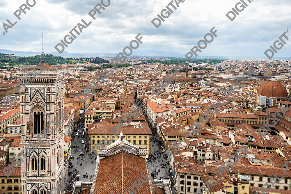Panoramic view of city of florence -Firenze- in tuscany region, Italy by day from the Dome lookout observation point.