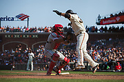 Philadelphia Phillies catcher Jorge Alfaro (38) tags San Francisco Giants shortstop Brandon Crawford (35) out at home plate at AT&T Park in San Francisco, California, on August 20, 2017. (Stan Olszewski/Special to S.F. Examiner)