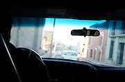 Driving through the streets of Oaxaca in the early morning.