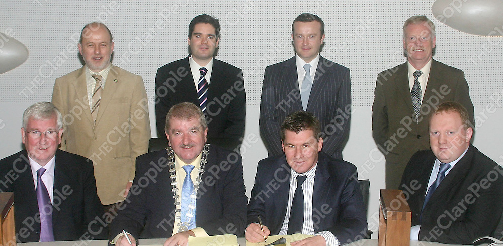 Castletroy Amenity Park 21-11-2007<br /><br />At the contract signing for the Castletroy Amenity Park in Limerick County Hall, Dooradoyle, were Front Row L-R; County Manager, Ned Gleeson, Cllr Kevin Sheahan, Cathaoirleach of Limerick County Council, Pat Quinlivan, Commercial Director and Lorchan Hoyne, Contracts Director of L&M Keating, Building and Civil Engineering Contractors, Kilmihil, Co.Clare. Back Row L-R; County Secretary, Eugene Griffin, Brian O'Sullivan, Associate Director, Erinaceous, Building Consultancy Services, Ennis, Brian Kennedy, SEO Special Projects, Limerick County Council and Gerry Behan, Director of Environment and Emergency Services, Limerick County Council    Picture by Dave Gaynor