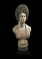 Roman marble sculpture bust of an unkown women, Late Trajan period 110-117 AD , inv 6074 Farnese Collection, Naples  Museum of Archaeology, Italy ..<br /> <br /> If you prefer to buy from our ALAMY STOCK LIBRARY page at https://www.alamy.com/portfolio/paul-williams-funkystock/greco-roman-sculptures.html . Type -    Naples    - into LOWER SEARCH WITHIN GALLERY box - Refine search by adding a subject, place, background colour, etc.<br /> <br /> Visit our ROMAN WORLD PHOTO COLLECTIONS for more photos to download or buy as wall art prints https://funkystock.photoshelter.com/gallery-collection/The-Romans-Art-Artefacts-Antiquities-Historic-Sites-Pictures-Images/C0000r2uLJJo9_s0