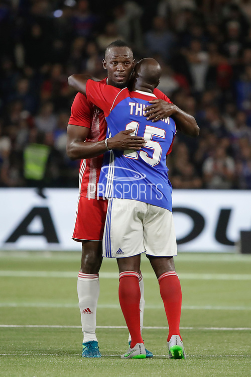 Usain Bolt (FIFA 98), Lilian Thuram (France 98) during the 2018 Friendly Game football match between France 98 and FIFA 98 on June 12, 2018 at U Arena in Nanterre near Paris, France - Photo Stephane Allaman / ProSportsImages / DPPI