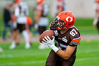 KELOWNA, BC - AUGUST 17:  Kaden Wagner #87 of Okanagan Sun receives the ball during pre game warm up against the Westshore Rebels at the Apple Bowl on August 17, 2019 in Kelowna, Canada. (Photo by Marissa Baecker/Shoot the Breeze)
