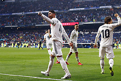 January 19, 2019 - Madrid, Madrid, Spain - Sergio Ramos (Real Madrid) seen celebrating a goal during the La Liga football match between Real Madrid and Sevilla FC at the Estadio Santiago Bernabéu in Madrid. (Credit Image: © Manu Reino/SOPA Images via ZUMA Wire)