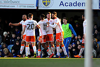 CELE - Blackpool's Clark Robertson celebrates scoring his side's second goal <br /> <br /> Photographer Ashley Crowden/CameraSport<br /> <br /> The EFL Sky Bet League One - Portsmouth v Blackpool - Saturday 24th February 2018 - Fratton Park - Portsmouth<br /> <br /> World Copyright © 2018 CameraSport. All rights reserved. 43 Linden Ave. Countesthorpe. Leicester. England. LE8 5PG - Tel: +44 (0) 116 277 4147 - admin@camerasport.com - www.camerasport.com