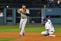 May 28, 2018 - Los Angeles, CA, U.S. - LOS ANGELES, CA - MAY 28: Philadelphia Phillies second baseman Cesar Hernandez (16) tries to turn a double play as Los Angeles Dodgers first baseman Max Muncy (13) slides into second during a MLB game between the Philadelphia Phillies and the Los Angeles Dodgers on Memorial Day, May 28, 2018 at Dodger Stadium in Los Angeles, CA. (Photo by Brian Rothmuller/Icon Sportswire) (Credit Image: © Brian Rothmuller/Icon SMI via ZUMA Press)