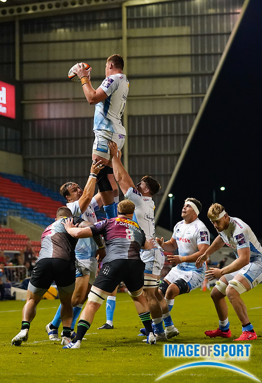 Sale Sharks lock Cobus Wiese catches a line out during The Premiership Rugby Cup Final at The AJ Bell Stadium, Eccles, Greater Manchester, United Kingdom, Monday, September 21, 2020. (Steve Flynn/Image of Sport)