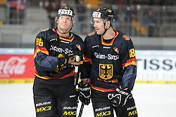 07.11.2014, Olympia Eisstadion, Muenchen, GER, IIHF, Deutschland Cup, Deutschland vs Schweiz, im Bild (v.l.n.r.) Daniel Pietta (Deutschland) Kai Hospelt (Deutschland) // during the German Cup Match between Germany and Switzerland at the Olympia Eisstadion in Muenchen, Germany on 2014/11/07. EXPA Pictures © 2014, PhotoCredit: EXPA/ Eibner-Pressefoto/ Laegler<br /> <br /> *****ATTENTION - OUT of GER*****