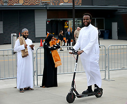 Ali Ismail of Northeast Minneapolis rides a scooter around the stadium before the start of the Eid celebration Tuesday, August 21, 2018, at U.S. Bank Stadium in Minneapolis, MN, USA, tocelebrate Eid ul-Adha, the organization Super Eid hopes to bring together over 50,000 Muslims to pray. Photo by David Joles/Minneapolis Star Tribune/TNS/ABACAPRESS.COM