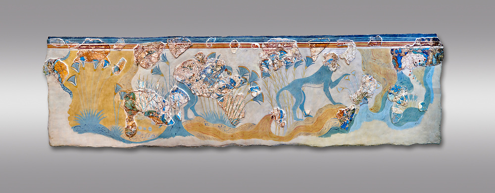 Minoan wall art depicting 'Blue Monkeys' from Knossos Palace, 1700-1450 BC. Heraklion Archaeological Museum.  Grey Background. .<br /> <br /> If you prefer to buy from our ALAMY PHOTO LIBRARY  Collection visit : https://www.alamy.com/portfolio/paul-williams-funkystock/minoan-art-artefacts.html . Type -   Heraklion   - into the LOWER SEARCH WITHIN GALLERY box. Refine search by adding background colour, place, museum etc<br /> <br /> Visit our MINOAN ART PHOTO COLLECTIONS for more photos to download  as wall art prints https://funkystock.photoshelter.com/gallery-collection/Ancient-Minoans-Art-Artefacts-Antiquities-Historic-Places-Pictures-Images-of/C0000ricT2SU_M9w