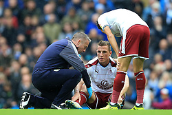 21st October 2017 - Premier League - Manchester City v Burnley - Chris Wood of Burnley goes down injured - Photo: Simon Stacpoole / Offside.