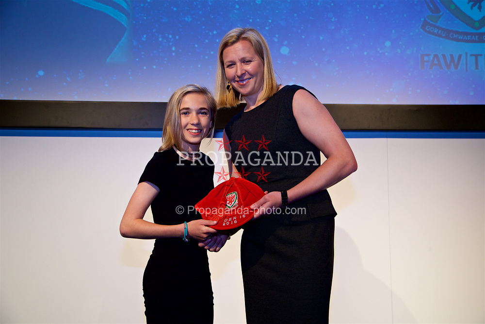 NEWPORT, WALES - Saturday, May 27, 2017: Lani Hogben receives her Under-16 Wales cap from Wales women's team manager Jayne Ludlow at the Celtic Manor Resort. (Pic by David Rawcliffe/Propaganda)