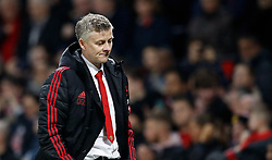 Manchester United interim manager Ole Gunnar Solskjaer reacts at half time during the Premier League match at Old Trafford, Manchester.