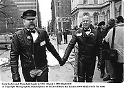 Gary Sechey and Wynn hold hands in NYC .March 1 1993<br /> film93229.© Copyright Photograph by Dafydd Jones<br /> 66 Stockwell Park Rd. London SW9 0DA<br /> Tel 0171 733 0108