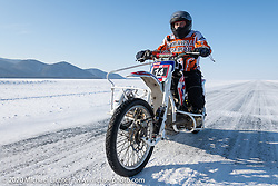 Team Uralgon's Dmitrii Orlov on his Ural Cross sidecar ice racer rig at the Baikal Mile Ice Speed Festival. Maksimiha, Siberia, Russia. Friday, February 28, 2020. Photography ©2020 Michael Lichter.