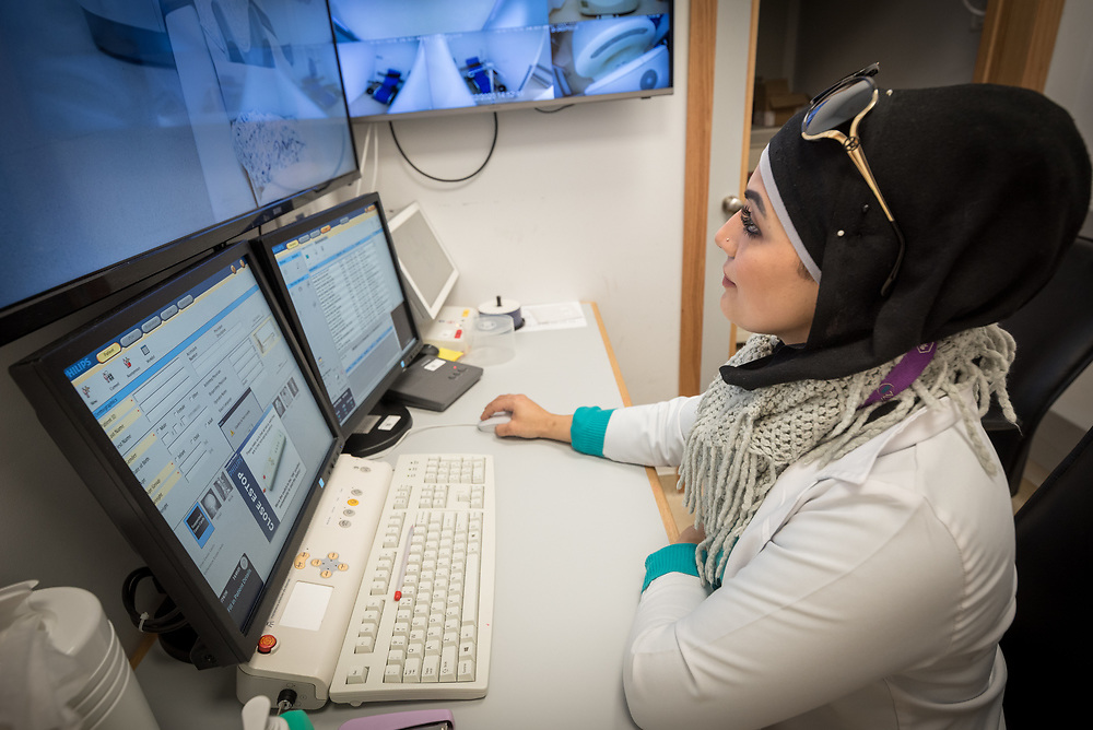 24 February 2020, Jerusalem: Nisreen Tahaa, coordinator of the Augusta Victoria Hospital Radiology department sits in the PET CT control room.