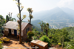 The farm to table Famous Farmhouse where we spent a night on Motorcycle Sherpa's Ride to the Heavens motorcycle adventure in the Himalayas of Nepal. This first day of riding took us from Kathmandu to Nuwakot. Monday, November 4, 2019. Photography ©2019 Michael Lichter.