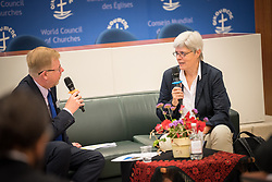 18 September 2017, Geneva, Switzerland: A talkshow format presents a range of programmes and activities of the World Council of Churches, at the Ecumenical Centre in Geneva where the WCC hosts a meeting of member churches' Ecumenical Officers. Here, interview with Dagmar Heller.