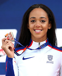 Great Britain's Katarina Johnson-Thompson holds her Silver medal won in the Women's Heptathlon, during day five of the 2018 European Athletics Championships at the Olympic Stadium, Berlin.