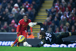 19.01.2013, Anfield, Liverpool, ENG, Premier League, FC Liverpool vs Norwich City, 23. Runde, im Bild Liverpool's Raheem Sterling on his way to scoring the fifth goal against Norwich City during the English Premier League 23th round match between Liverpool FC and Norwich City FC at Anfield, Liverpool, Great Britain on 2013/01/19. EXPA Pictures © 2013, PhotoCredit: EXPA/ Propagandaphoto/ David Rawcliffe..***** ATTENTION - OUT OF ENG, GBR, UK *****