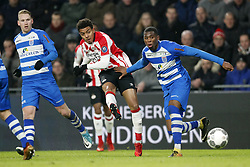 (L-R) Stef Nijland of PEC Zwolle, Donyell Malen of PSV, Kingsley Ehizibue of PEC Zwolle during the Dutch Eredivisie match between PSV Eindhoven and PEC Zwolle at the Phillips stadium on February 03, 2018 in Eindhoven, The Netherlands