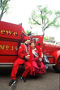 Vulcan and Klondike Kate at Cinco de Mayo festival.  St Paul Minnesota USA