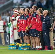 Twickenham, England.  Back Room Staff, lined up during the National Anthem, QBE International. England vs France [World cup warm up match]  Saturday.  15.08.2015,  [Mandatory Credit. Peter SPURRIER/Intersport Images].