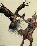 Lo, A Bird Pounced Upon The Talisman Colour illustration of The Lost Talisman from the book '  More tales from the Arabian nights, based on the translation from the Arabic ' by Edward William Lane and Frances Jenkins Olcott, Publisher New York, H. Holt and company 1915