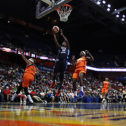 UNCASVILLE, CONNECTICUT- JUNE 3:   Elizabeth Williams #52 of the Atlanta Dream scores two points during the Atlanta Dream Vs Connecticut Sun, WNBA regular season game at Mohegan Sun Arena on June 3, 2016 in Uncasville, Connecticut. (Photo by Tim Clayton/Corbis via Getty Images)