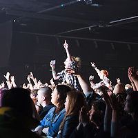 Fans cheering and singing along with Asking Alexandria on the Resurrection Tour at Manchester Academy, 2018-01-24