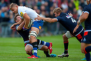 Jamie Hodgson of Edinburgh Rugby attempts to tackle Jack Walker of Bath Rugby during the Rugby Friendly match between Edinburgh Rugby and Bath Rugby at Meggetland Sports Complex, Edinburgh, Scotland on 17 August 2018.
