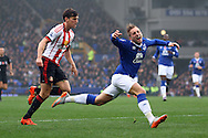 Gerard Deulofeu of Everton (r) looks for a penalty from a Billy Jones of Sunderland tackle. Barclays Premier League match, Everton v Sunderland at Goodison Park in Liverpool on Sunday 1st November 2015.<br /> pic by Chris Stading, Andrew Orchard sports photography.