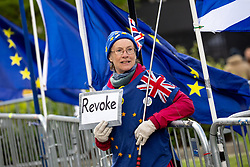 © Licensed to London News Pictures. 03/04/2019. London, UK. A anti-Brexit demonstrator in Westminster. Yesterday evening British Prime Minister Theresa May made a statement in Downing Street offering to go into talks with Leader of the Labour Party Jeremy Corbyn, following the announcement of a request for an extension to article 50, thereby delaying Britain leaving the European Union. Photo credit : Tom Nicholson/LNP