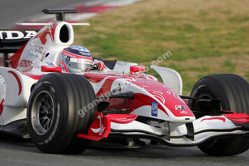 Takuma Sato in the Super Aguri-Honda interim car testing at the Circuit de Catalunya outside Barcelona on February 14 2007. Photo: Grand Prix Photo