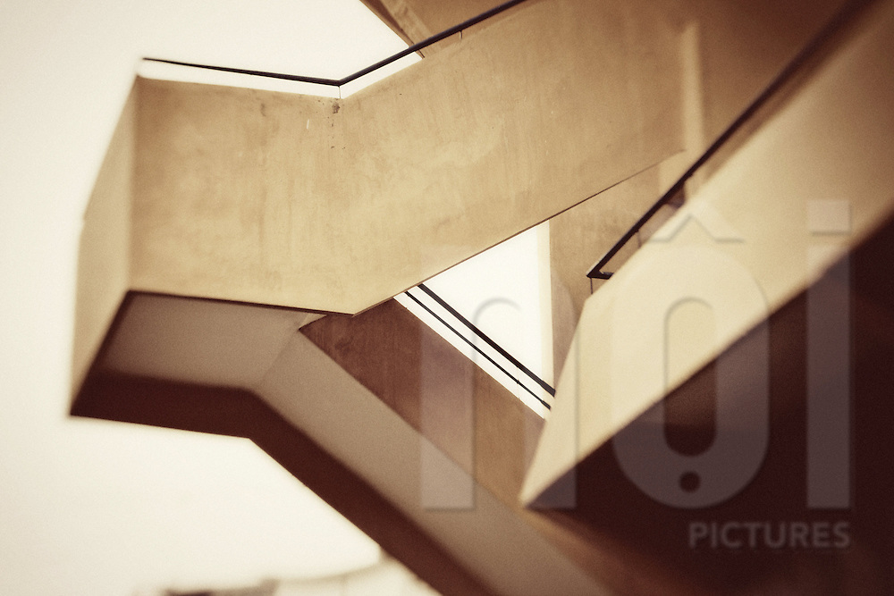 architecture of a staircase leading to terraces in Hang Day stadium, Hanoi, Vietnam.