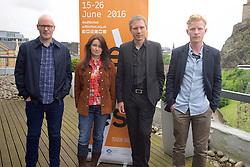 2016 Edinburgh International Film Festival, (left to Right) Paul Savage (The Delgados), Emma Pollock (The delgados) Alex Kapranos (Franz Ferdinand) Niall McCann (Director)  during the WORLD PREMIERE (DOCUMENTARY) LOST IN FRANCE, The Apex Hotel Grassmarket, Edinburgh16th June 2016, (c) Brian Anderson | Edinburgh Elite media