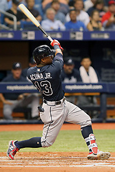 May 8, 2018 - St. Petersburg, FL, U.S. - ST. PETERSBURG, FL - MAY 08: Ronald Acuna Jr. (13) of the Braves hits a home run during the MLB regular season game between the Atlanta Braves and the Tampa Bay Rays on May 08, 2018, at Tropicana Field in St. Petersburg, FL. (Photo by Cliff Welch/Icon Sportswire) (Credit Image: © Cliff Welch/Icon SMI via ZUMA Press)