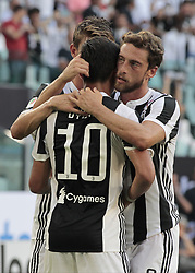 August 19, 2017 - Turin, Italy - Paulo Dybala and Claudio Marchisio during Serie A match between Juventus v Cagliari, in Turin, on August 19, 2017  (Credit Image: © Loris Roselli/NurPhoto via ZUMA Press)