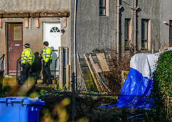 Pictured: Police Scotland officers and CID attend an incident at Preston Road Linlithgow, Locals reports a body found in a graden, with a tent erected.   Andrew West/ EEm