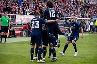 Real Madrid's players celebrating a goal during La Liga match. April 23,2016. (ALTERPHOTOS/Borja B.Hojas)