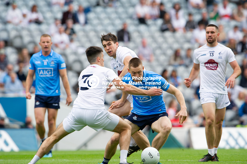 01–08-21.<br /> Dublin v Kildare - Leinster Senior Football Championship Final at Croke Park.<br /> Con O'Callaghan, Dublin in action against Mick O'Grady, Kildare in the Leinster Senior Football Championship Final.<br /> Photo: John Quirke / www.quirke.ie<br /> ©John Quirke Photography, 16 Proudstown Road, Navan. Co. Meath. (info@quirke.ie / 046-9028461 / 087-2579454).