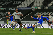 Cardiff City defender Joe Bennett (3) clears the ball as d2\ closes in during the EFL Sky Bet Championship match between Derby County and Cardiff City at the Pride Park, Derby, England on 28 October 2020.