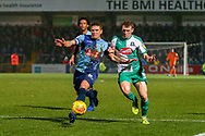Wycombe Wanderers defender Adam El-Abd(6) and Plymouth Argyle defender Ryan Edwards (5) battle over the ball during the EFL Sky Bet League 1 match between Wycombe Wanderers and Plymouth Argyle at Adams Park, High Wycombe, England on 26 January 2019.